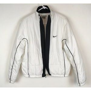 Womens NIKE Puffer quilted jacket coat white zip L
